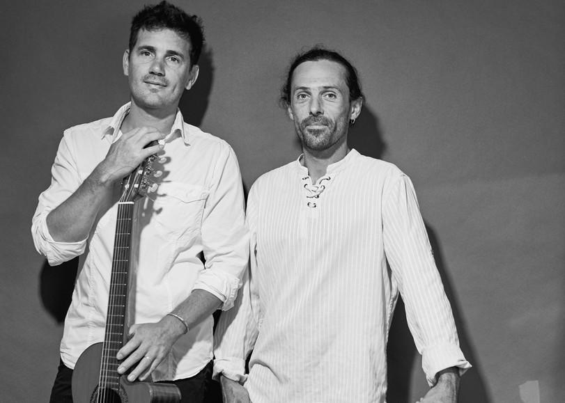 Portrait en noir et blanc de deux musiciens. Image pour Crin Blanc, un ciné-concert au Moulin du Roc à Niort