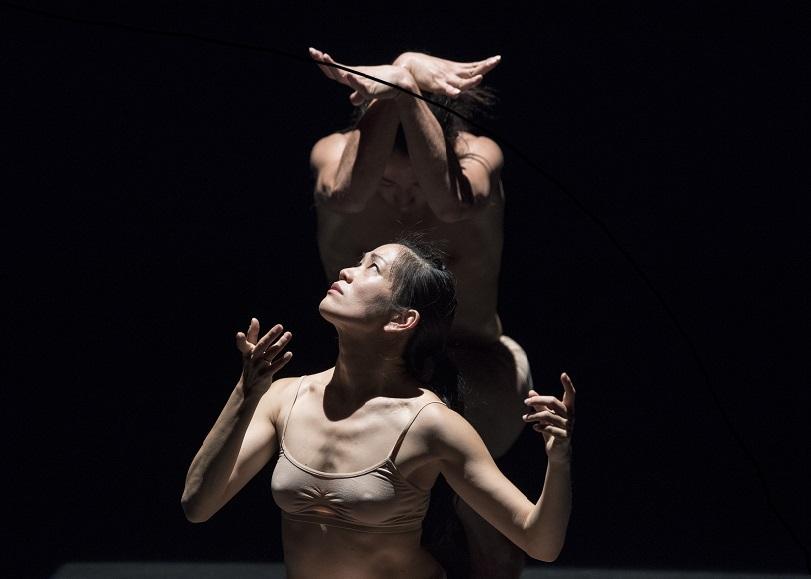 Photo de deux danseurs dénudées, éclairés d'en haut. Image pour Is it worth to save us, spectacle de danse de KAORI ITO et MIRAÏ MORIYAMA au Moulin du Roc à Niort