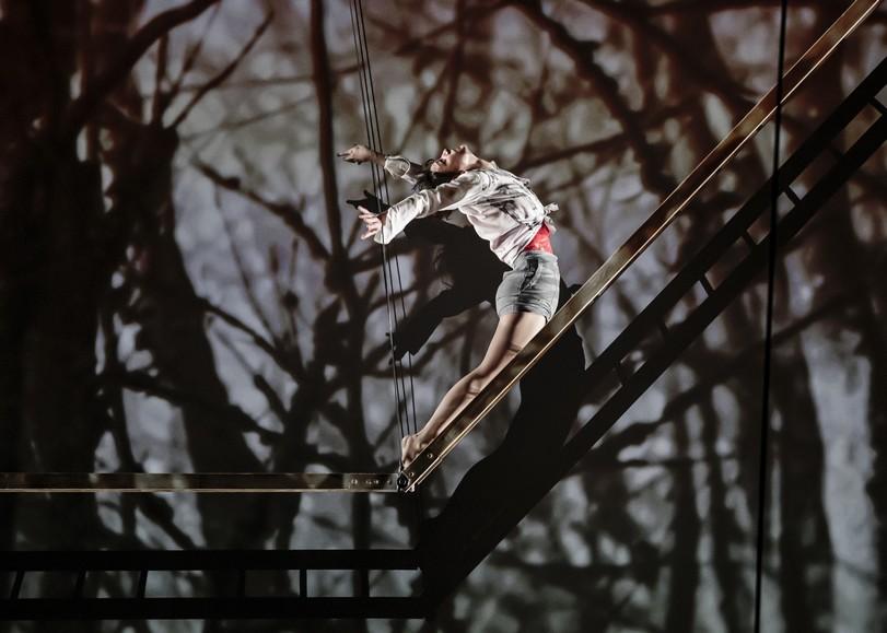 Circassienne se balançant sur une structure métallique. Image pour Les hauts plateaux, spectacle de cirque et trampoline de Mathurin Bolze au Moulin du Roc à Niort