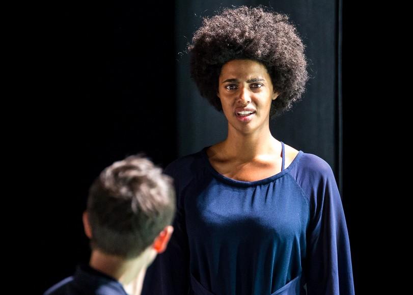 Une comédienne dans la lumière grimace. Image pour Othello, une pièce de théâtre d'Arnaud Churin au Moulin du Roc à Niort