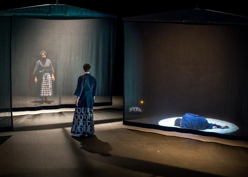 Des comédiens vêtus de kimonos communiquent à travers un rideau transparent. Image pour Othello, une pièce de théâtre d'Arnaud Churin au Moulin du Roc à Niort