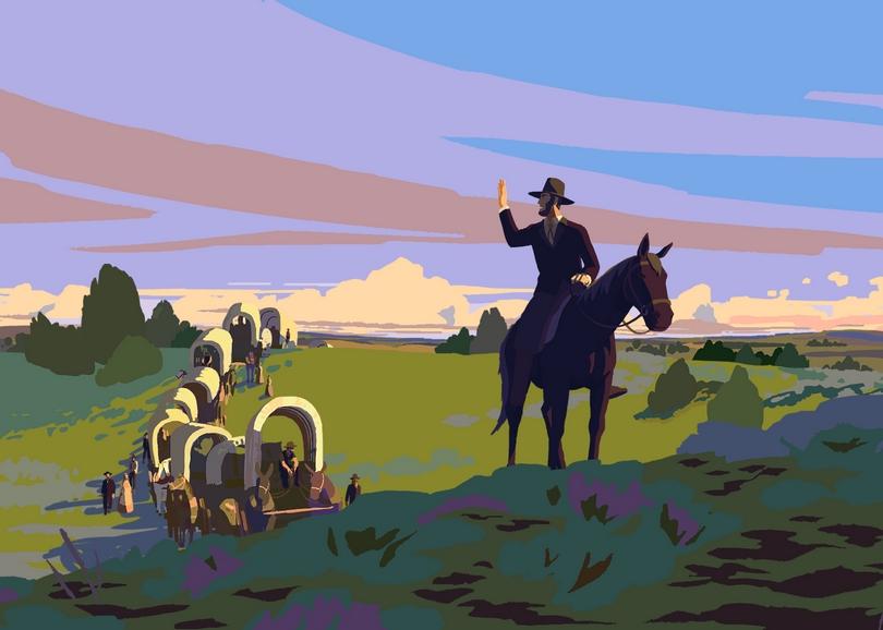 Illustration aux couleurs vives de carrioles tirées par des chevaux. Image pour CALAMITY, film d'animation à découvrir en famille au cinéma du Moulin du Roc à Niort