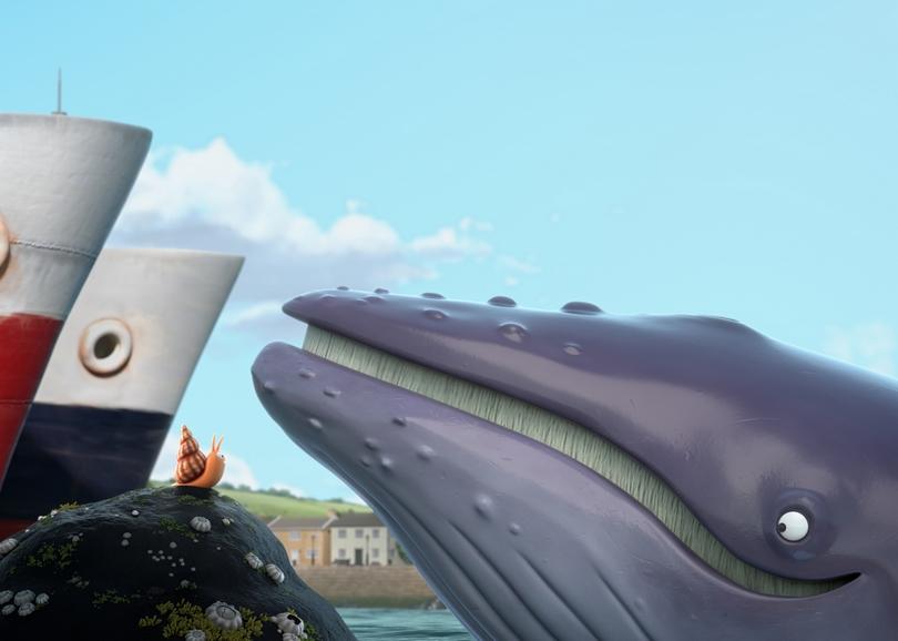 Illustration d'une baleine regardant un escargot sur un rocher. Image pour LA BALEINE ET L'ESCARGOTTE, film d'animation à découvrir en famille au cinéma du Moulin du Roc à Niort