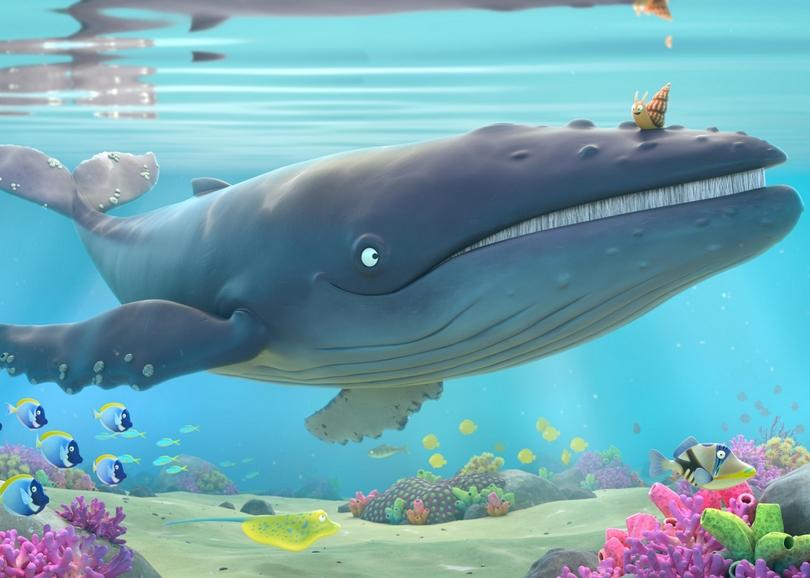 Illustration d'un escargot assis sur une baleine. Image pour LA BALEINE ET L'ESCARGOTTE, film d'animation à découvrir en famille au cinéma du Moulin du Roc à Niort
