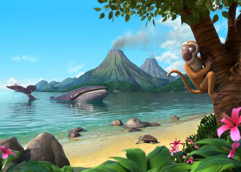 Une baleine au bord d'une plage, des volcans et un singe dans un arbre. Image pour LA BALEINE ET L'ESCARGOTTE, film d'animation à découvrir en famille au cinéma du Moulin du Roc à Niort