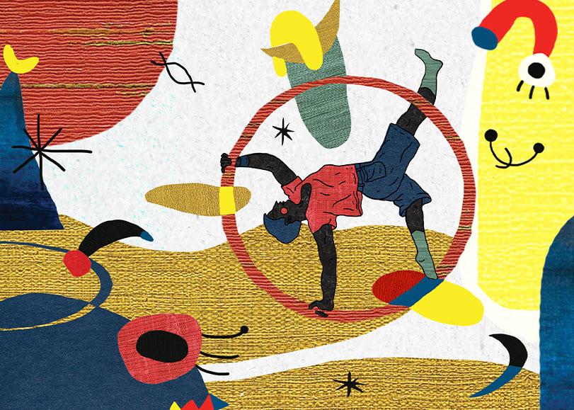 Dessin d'un bonhomme faisant des acrobaties dans des formes.