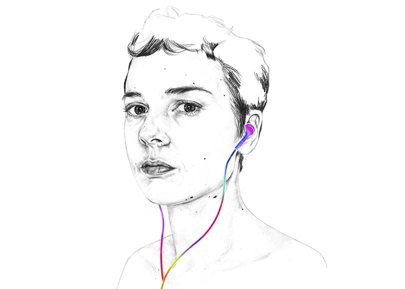 Portrait dessiné d'une jeune fille avec des écouteurs dans les oreilles.